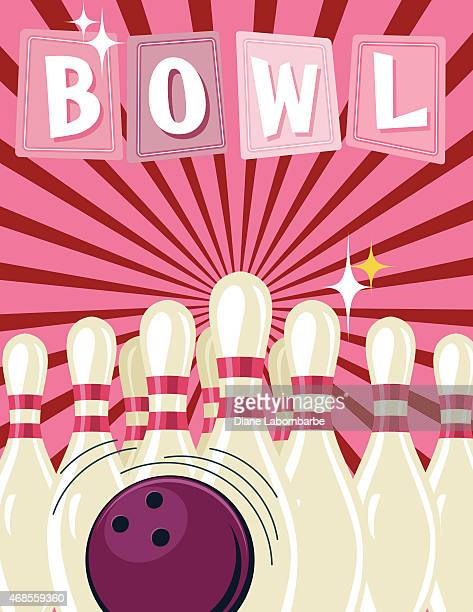 retro style bowling tournament poster template - bowling ball stock illustrations, clip art, cartoons, & icons