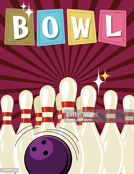Retro-Style-Poster-Vorlage Bowling Tournament