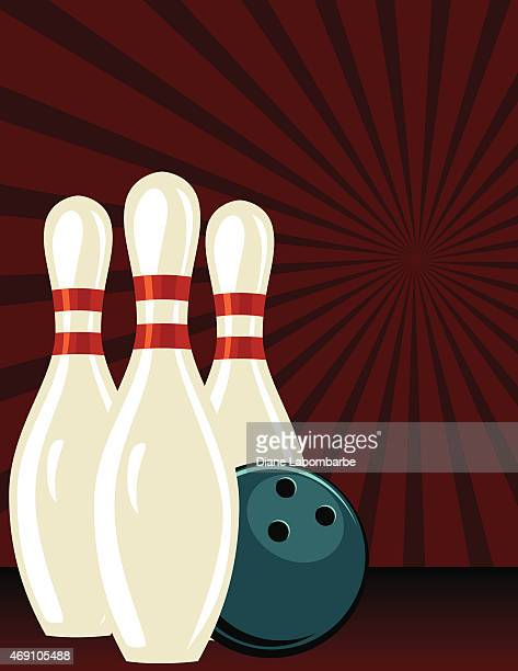 retro style bowling tournament poster template - bowling pin stock illustrations