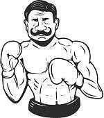 retro style boxer illustration. Vector illustration.