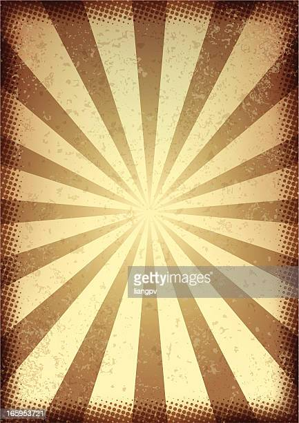 Retro style brown and cream sunbeam background