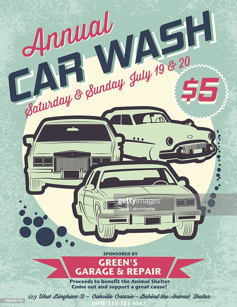 Retro style car wash ad shows the event held annually