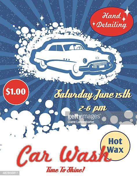 illustrations, cliparts, dessins animés et icônes de style rétro lavage de voiture ad - station de lavage auto