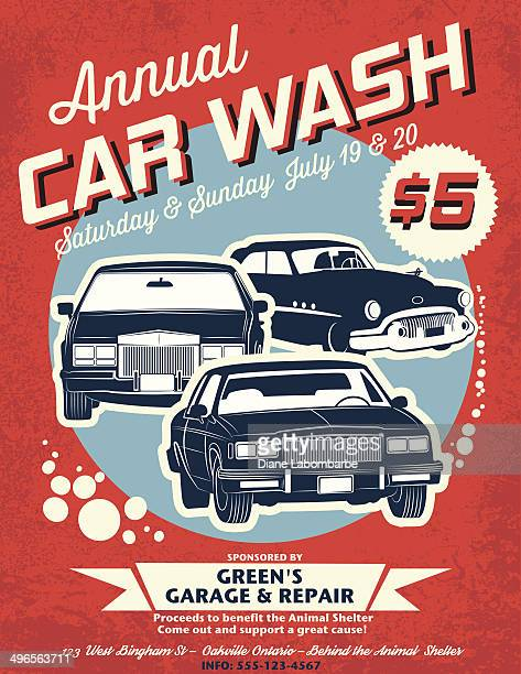 retro style car wash ad - commercial sign stock illustrations