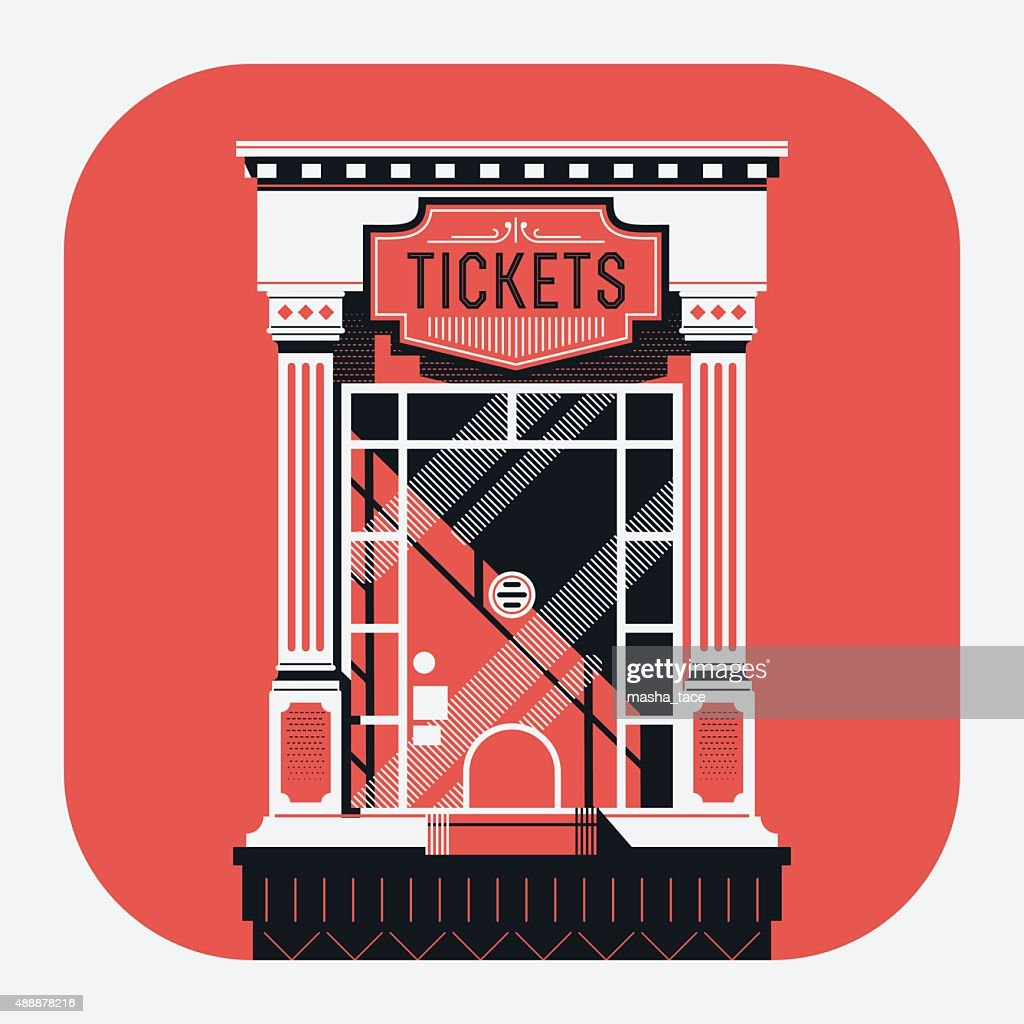 retro style cinema movie theater tickets booth window