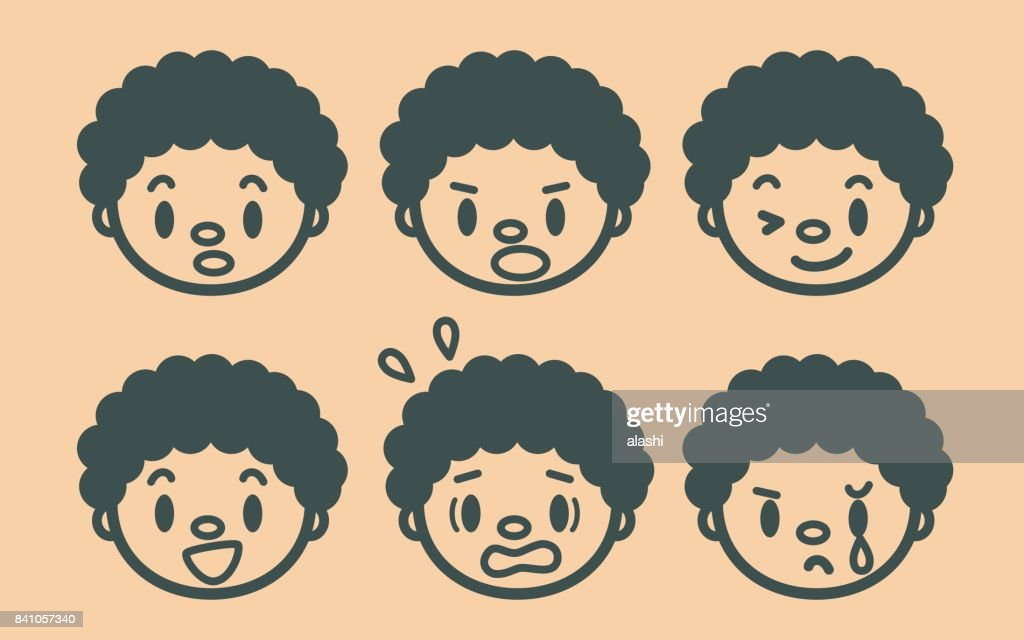Retro style cute Afro boy face outline emoticons