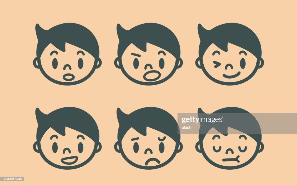Retro style cute boy face outline emoticons