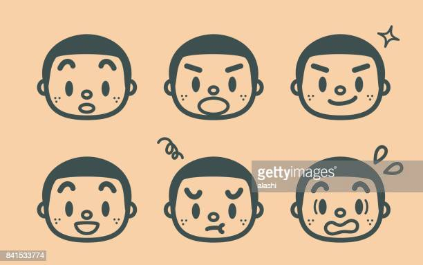 Retro style cute boy with a crew cut and freckle, face outline emoticons