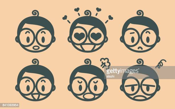 Retro style cute boy with eyeglasses emoticons, face outline