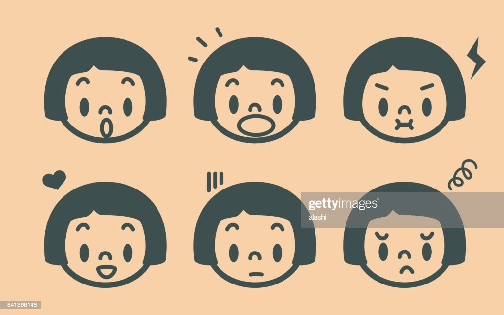 Retro style cute girl emoticons, face outline