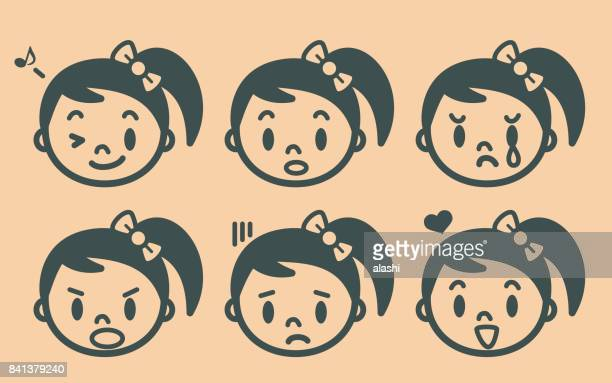 retro style cute girl with pigtails and hair bow emoticons, face outline - hair bow stock illustrations