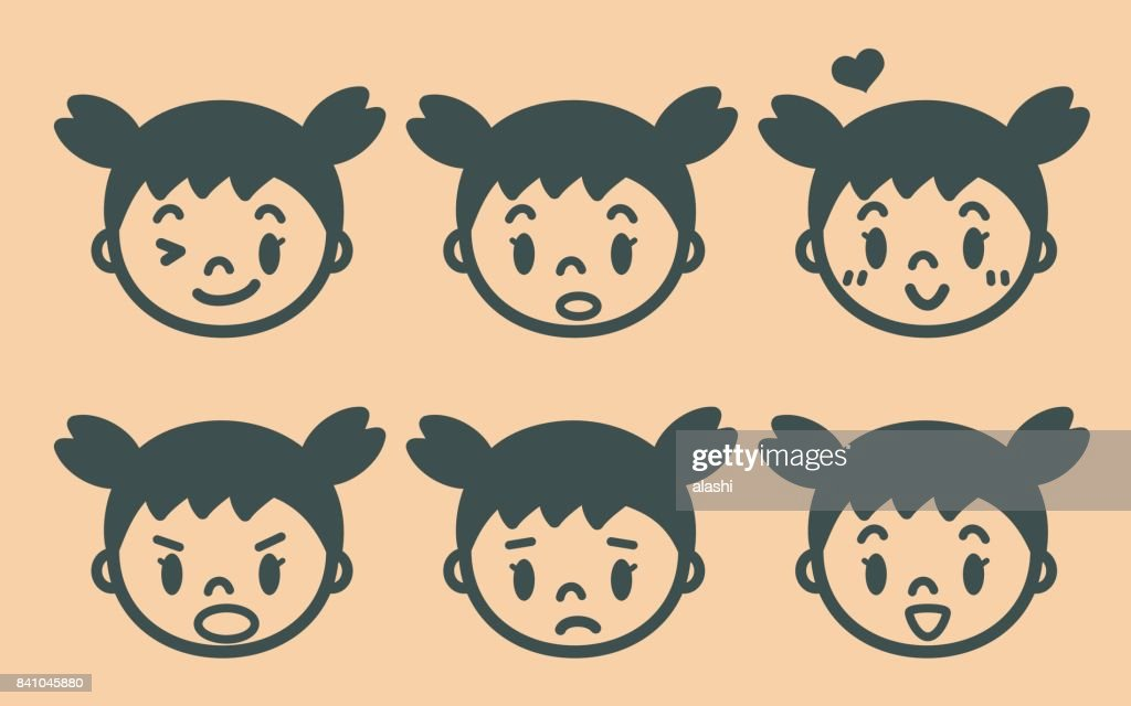 Retro style cute girl with pigtails emoticons, face outline