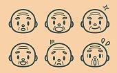 Retro style cute senior man (grandfather, monk), face outline emoticons