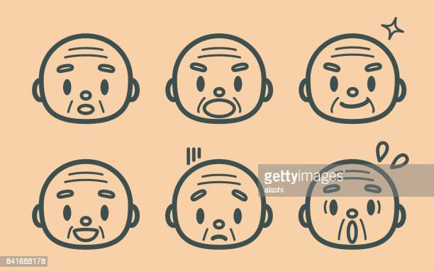 Lindo hombre senior estilo retro (abuelo, monje), emoticonos de contorno de cara