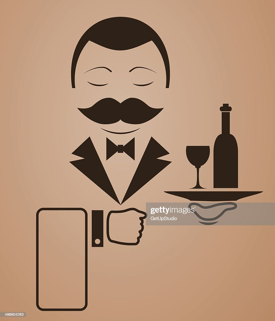 Retro style drawing waiter in vector EPS 10 illustration format