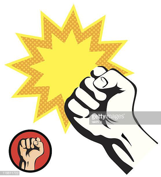 Retro style fist punch on a white background