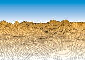 Retro style futuristic wireframe landscape with mountains and sky