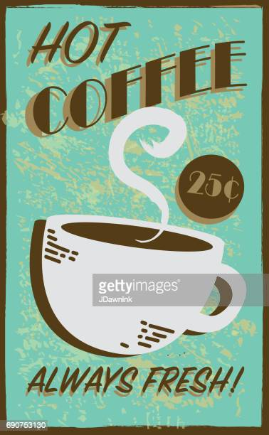 retro style hot coffee diner sign - hot drink stock illustrations, clip art, cartoons, & icons
