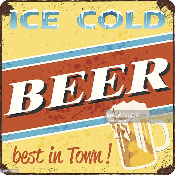 retro style ice cold beer sign - cold temperature stock illustrations
