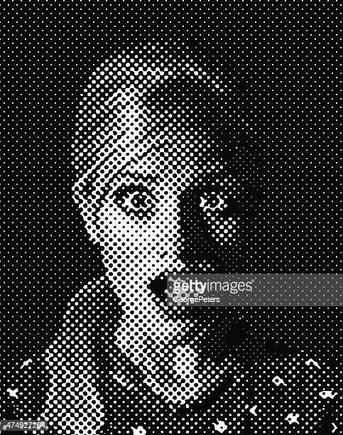 レトロなスタイルのおびえる女性のイラストレーション。ハーフトーンパターンます。