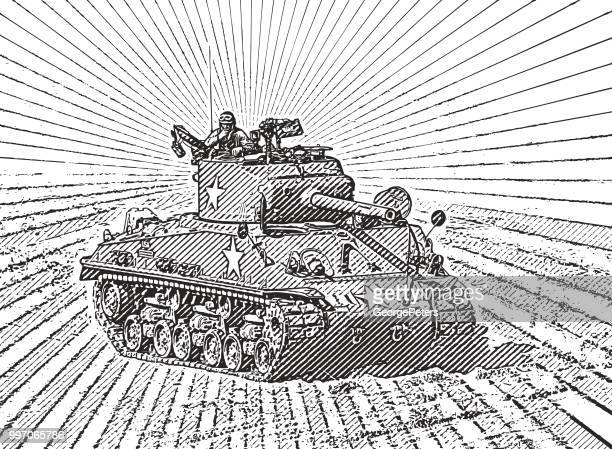 retro style illustration of a world war ii armored tank in combat - d day stock illustrations