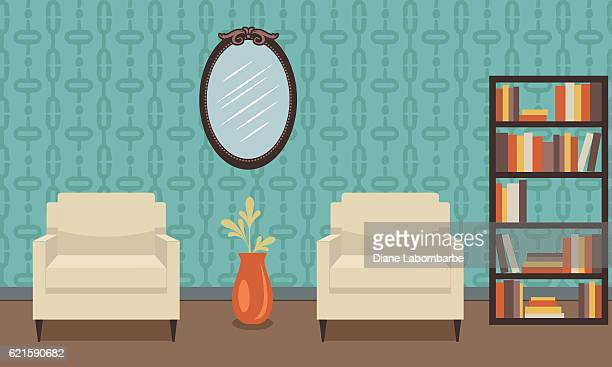 retro style living room with furniture - domestic room stock illustrations, clip art, cartoons, & icons