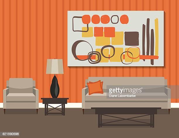 ilustrações, clipart, desenhos animados e ícones de retro style living room with sofa and art - mesa mobília