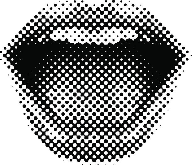 retro style mouth laughing - lips stock illustrations