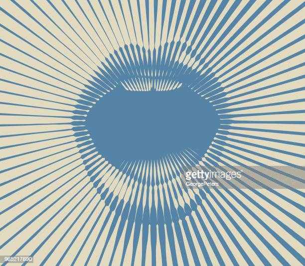 retro style mouth with half tone pattern sunbeams - mouth stock illustrations, clip art, cartoons, & icons