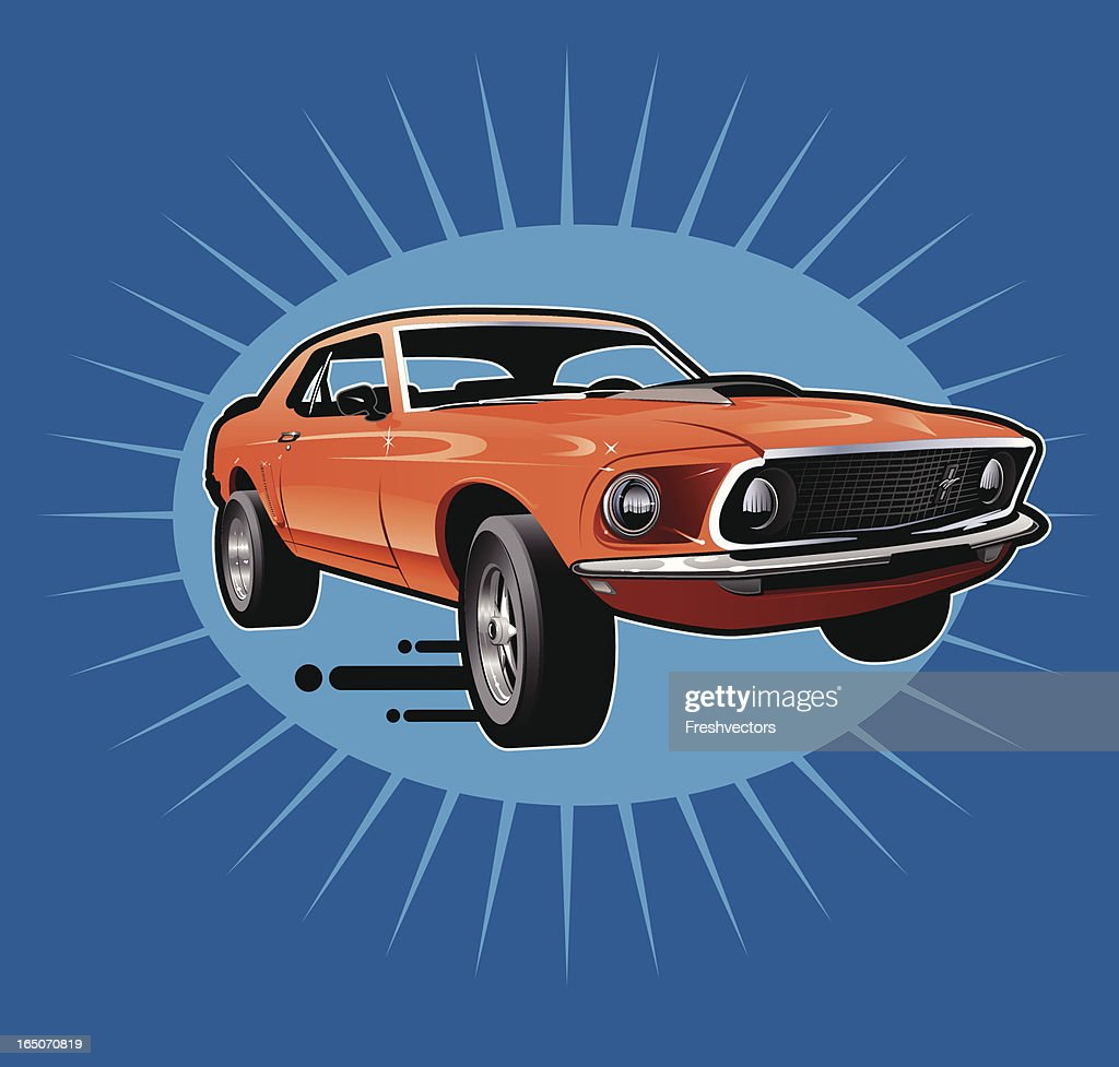 Retro Style Mustang Sports Car : stock illustration