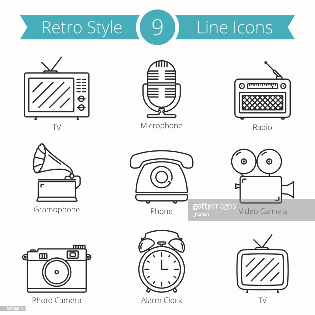 Retro Style Objects Line Icons