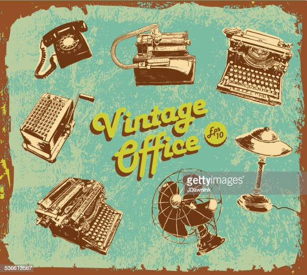 Retro style of assorted vintage desk items green