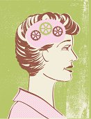 Retro style profile of a woman with gears.