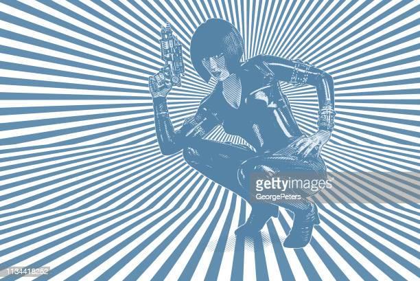 ilustrações de stock, clip art, desenhos animados e ícones de retro style sci fi woman aiming ray gun - mulher fatal