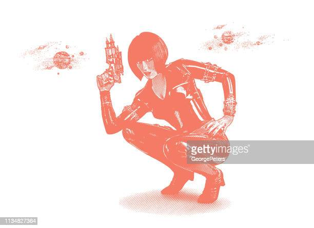 Retro style Sci Fi woman aiming ray gun
