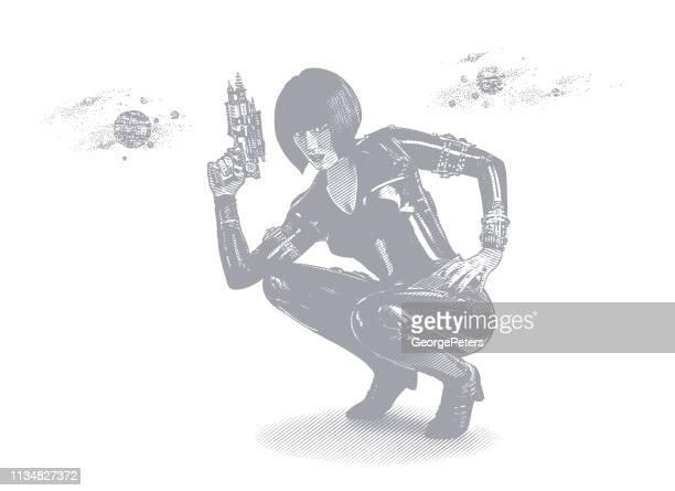 retro style sci fi woman aiming ray gun - desaturated stock illustrations, clip art, cartoons, & icons