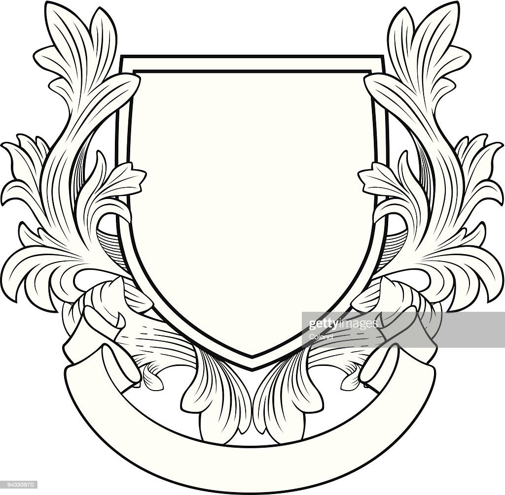 Retro Style Shield and Banner : stock illustration