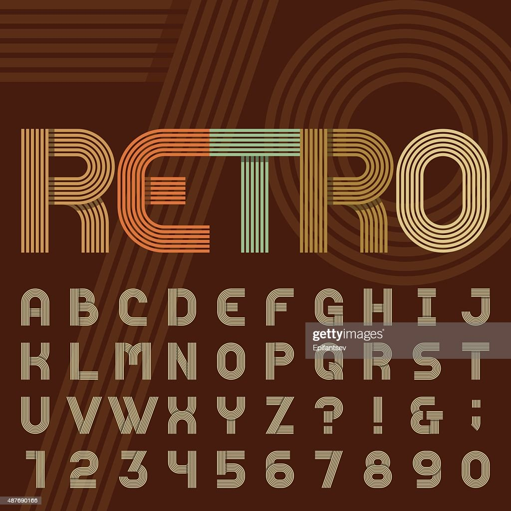 Retro style stripe alphabet vector font.