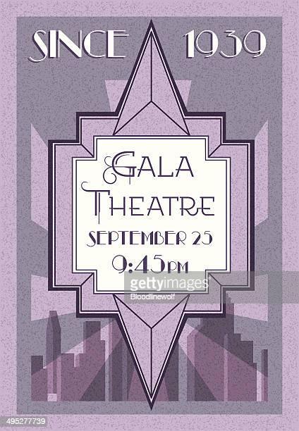 retro style theatre poster, art deco  - gatsby image stock illustrations