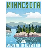 Retro style travel poster or sticker. United States, Minnesota scenic lake