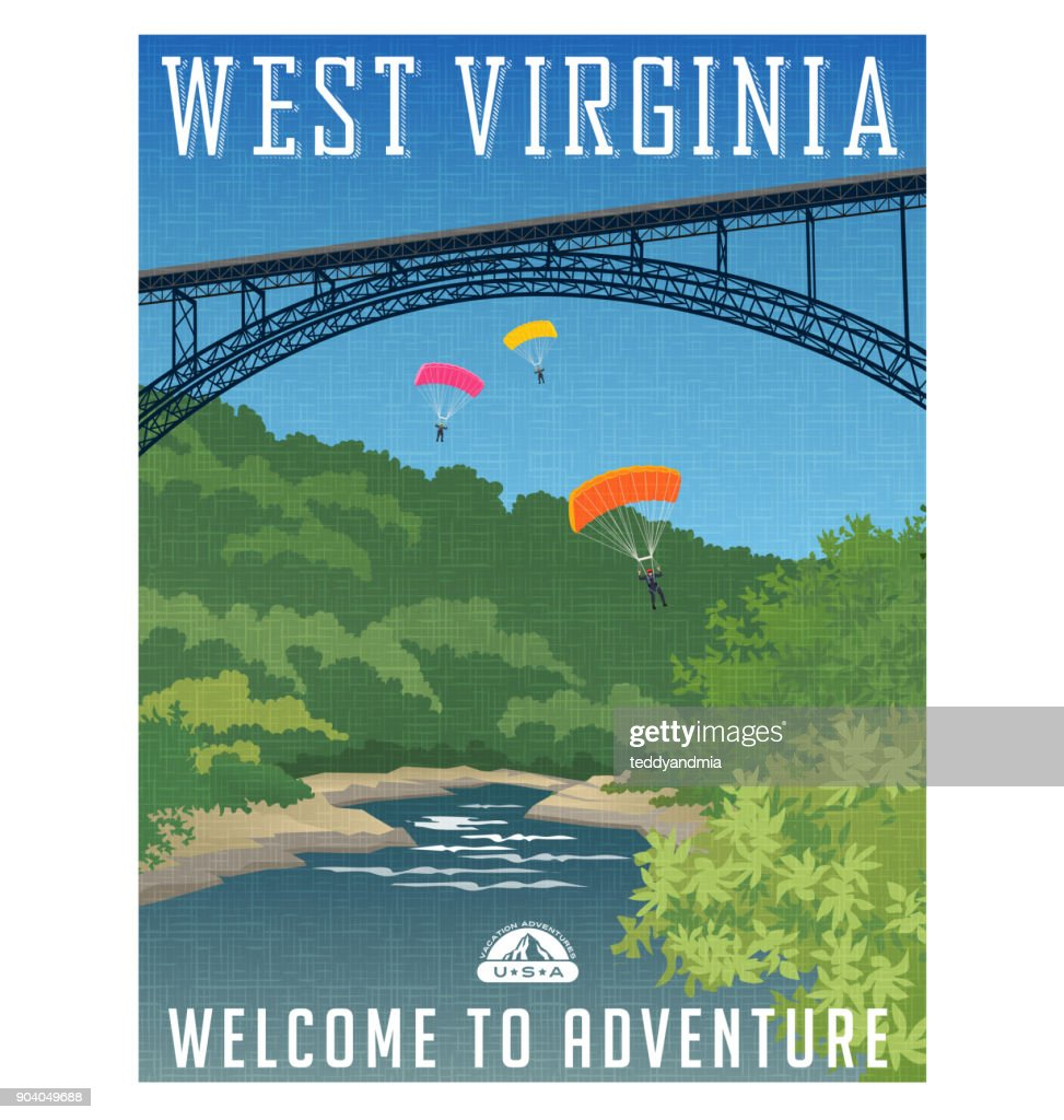 Retro style travel poster or sticker. United States, West Virginia