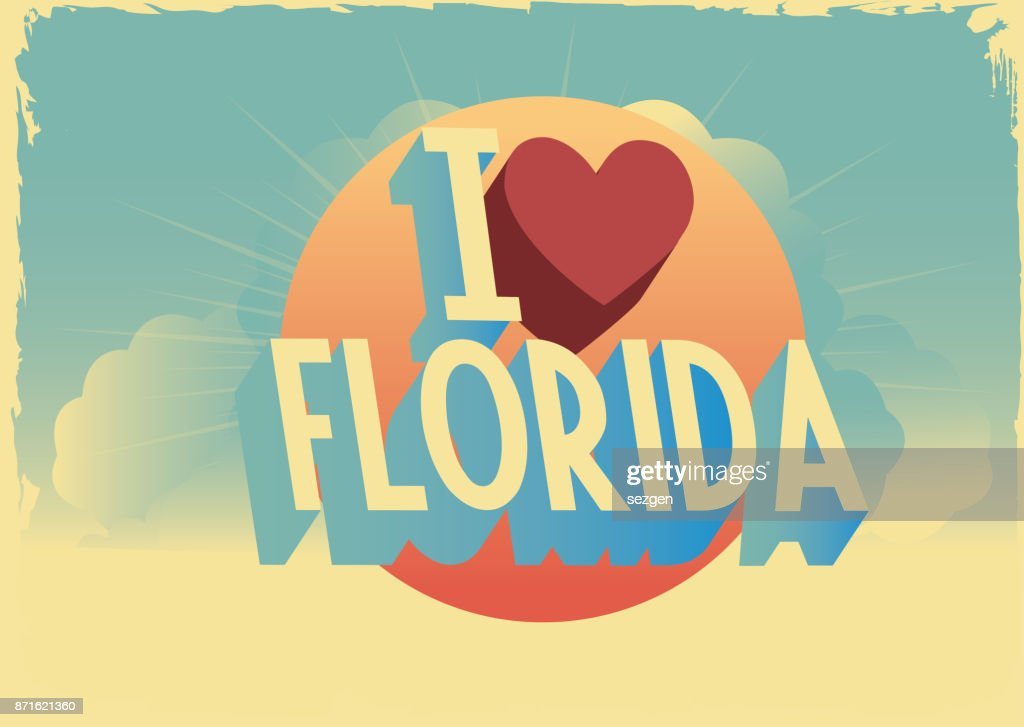 retro style vector 'i love' city postcard design