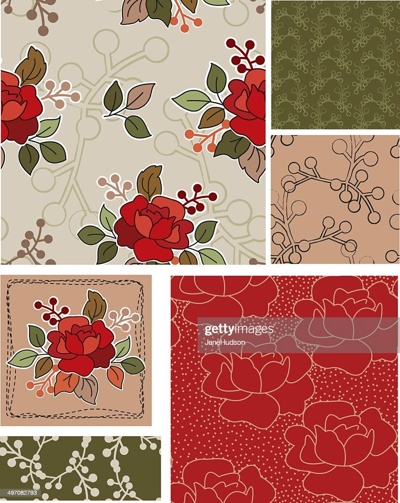 Retro Style Vector Rose Floral Patterns and Elements.