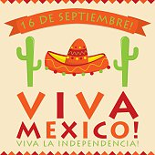 Retro style Viva Mexico (Mexican Independence Day) card in vecto