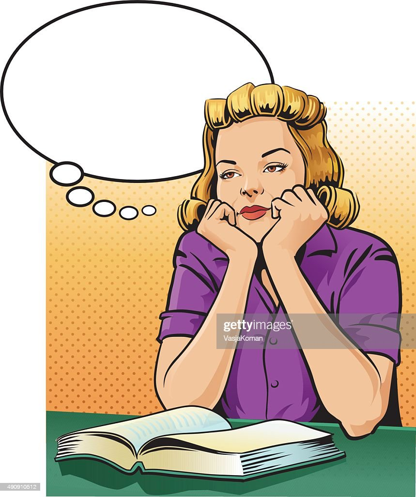 Retro Style Woman With Book Daydreaming - Speech Balloon : stock illustration