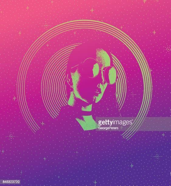 Retro-Stil 60er Jahre psychedelische sinnliche Frau