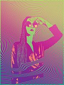 Retro styled 1960's psychedelic sensuous woman