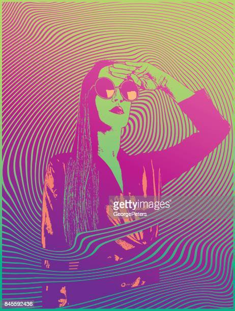 retro styled 1960's psychedelic sensuous woman - acid stock illustrations