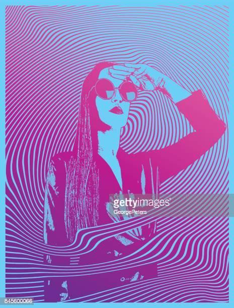 retro-stil 60er jahre psychedelische sinnliche frau - farbsättigung stock-grafiken, -clipart, -cartoons und -symbole