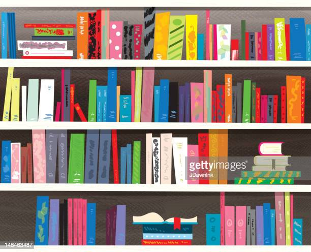 retro styled colorful bookshelf - library stock illustrations